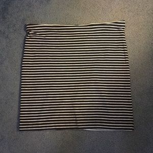 Navy & White Striped Skirt